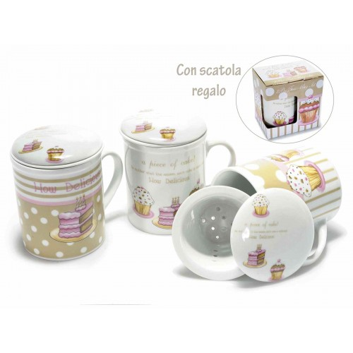 TAZZA TISANIERA CUPCAKE IN PORCELLANA CON SCATOA REGALO
